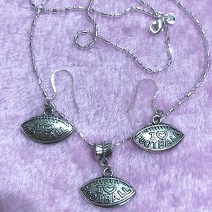 Jewelry - I love Football Sterling Silver Necklace, Earrings